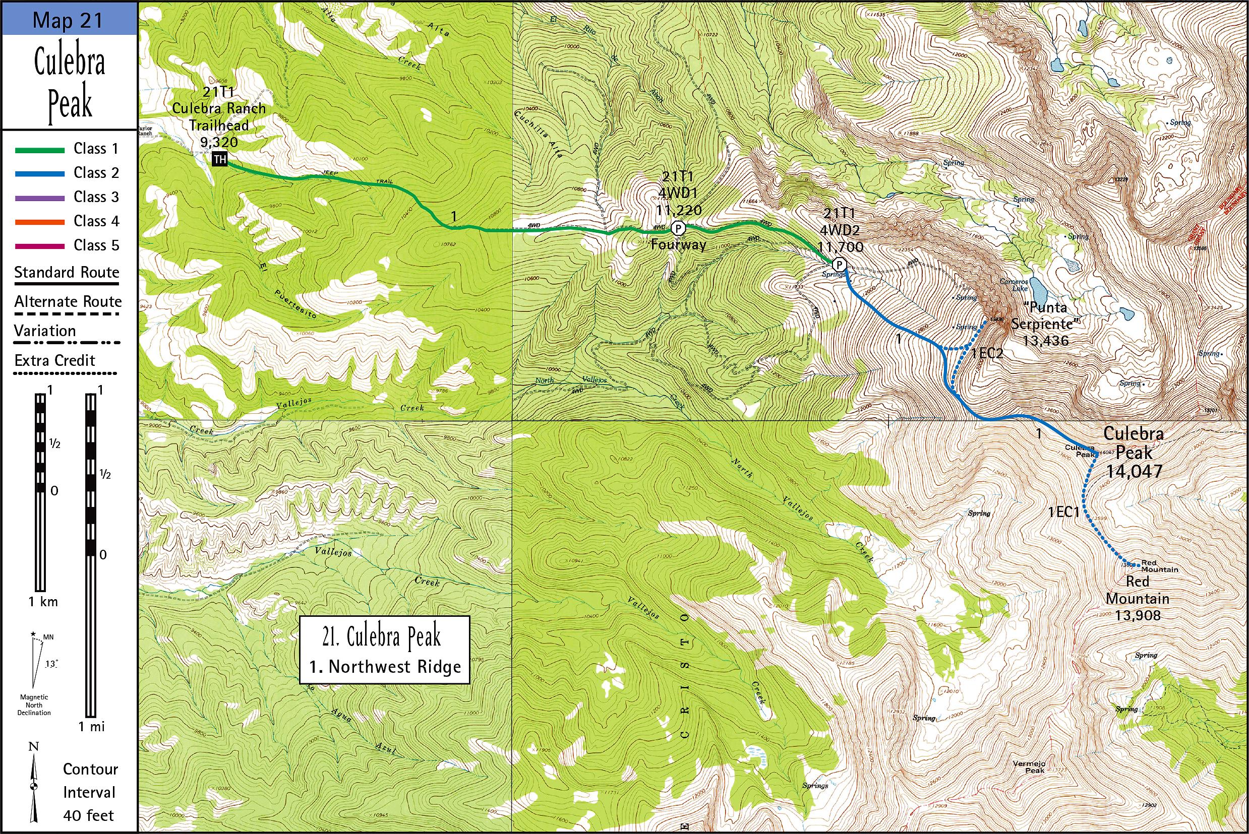 Culebra Peak Map